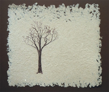"Lone Tree - handmade mulberry paper with fiber tree Dimensions: 20"" x 16"" Price: $250 ppd"