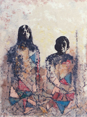"Ancestors - pulp painting of handmade cotton and gampi fibers Dimensions: 30"" x 40"""