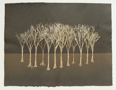 "Grove II - fiber trees on handmade paper Dimensions: 24"" x 18"""