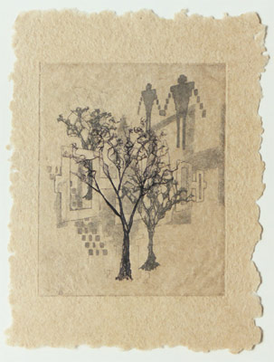 "Belts and Peace Trees - etching and fiber tree on handmade gampi paper Dimensions: 10"" x 13"""