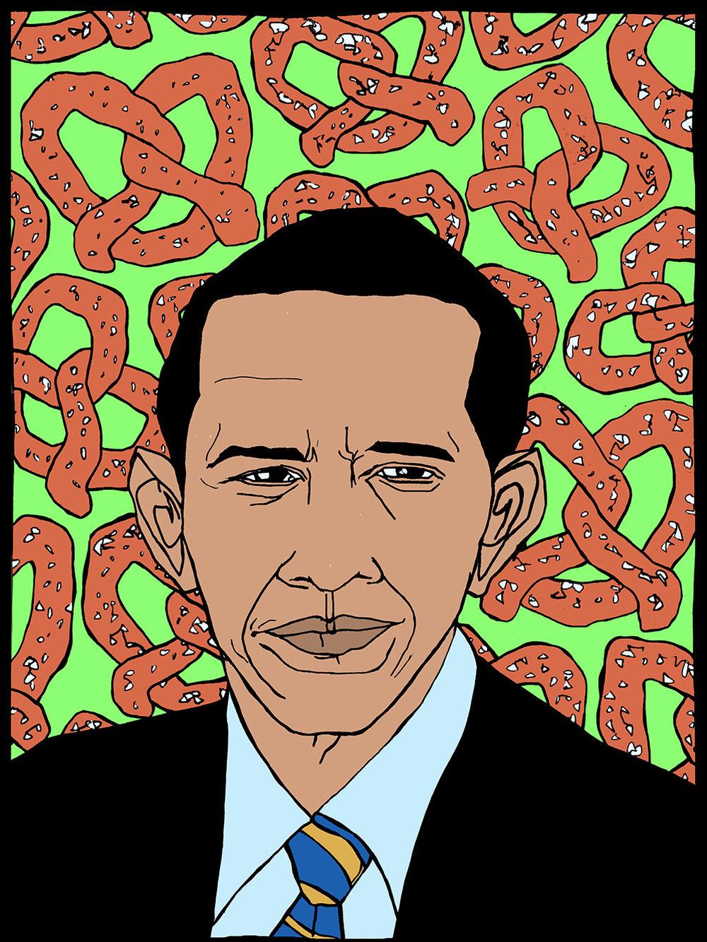 Obama + pretzels