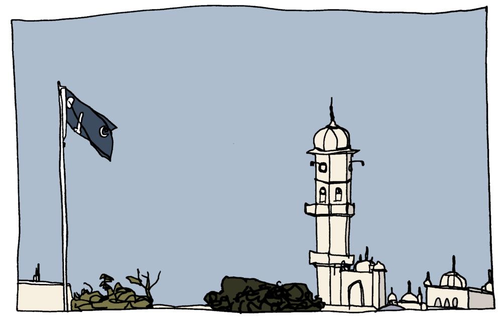 White Minaret and Ahmadiyya Flag