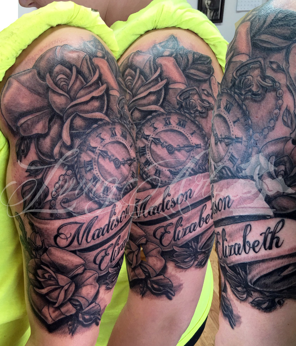 chris owen tattoo_half sleeve tattoo_clock and rose tattoo.jpg
