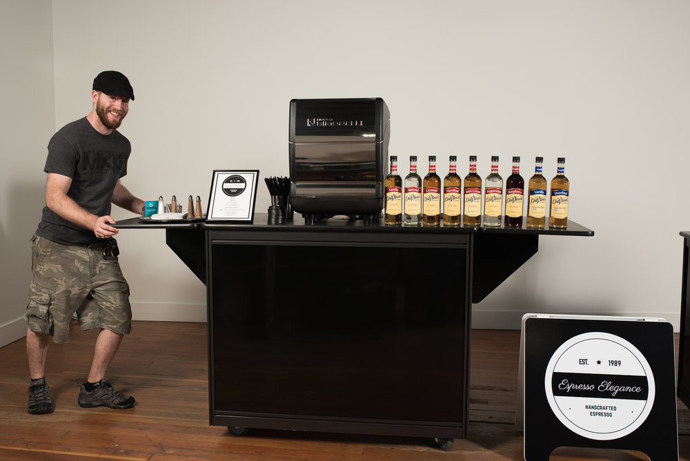 Espresso catering cart being delivered to an event by Delivery Manager, Scott