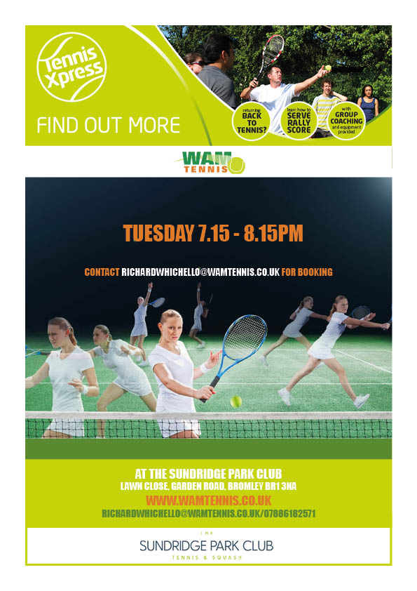 We are adding another Tennis Xpress class to the timetable, starting on Tuesday 12th June from 7.15pm-8.15pm. This class is tailored for beginners and will run for 5 weeks finishing on Tuesday 10th July. In this time you will learn the technical aspects (including grips) for the forehand, backhand, volleys, smash and serve. You will also learn how to score and play a match!   Cost = £37.50 for members and £42.50 for non-members.  Contact richardwhichello@wamtennis.co.uk for booking and more details