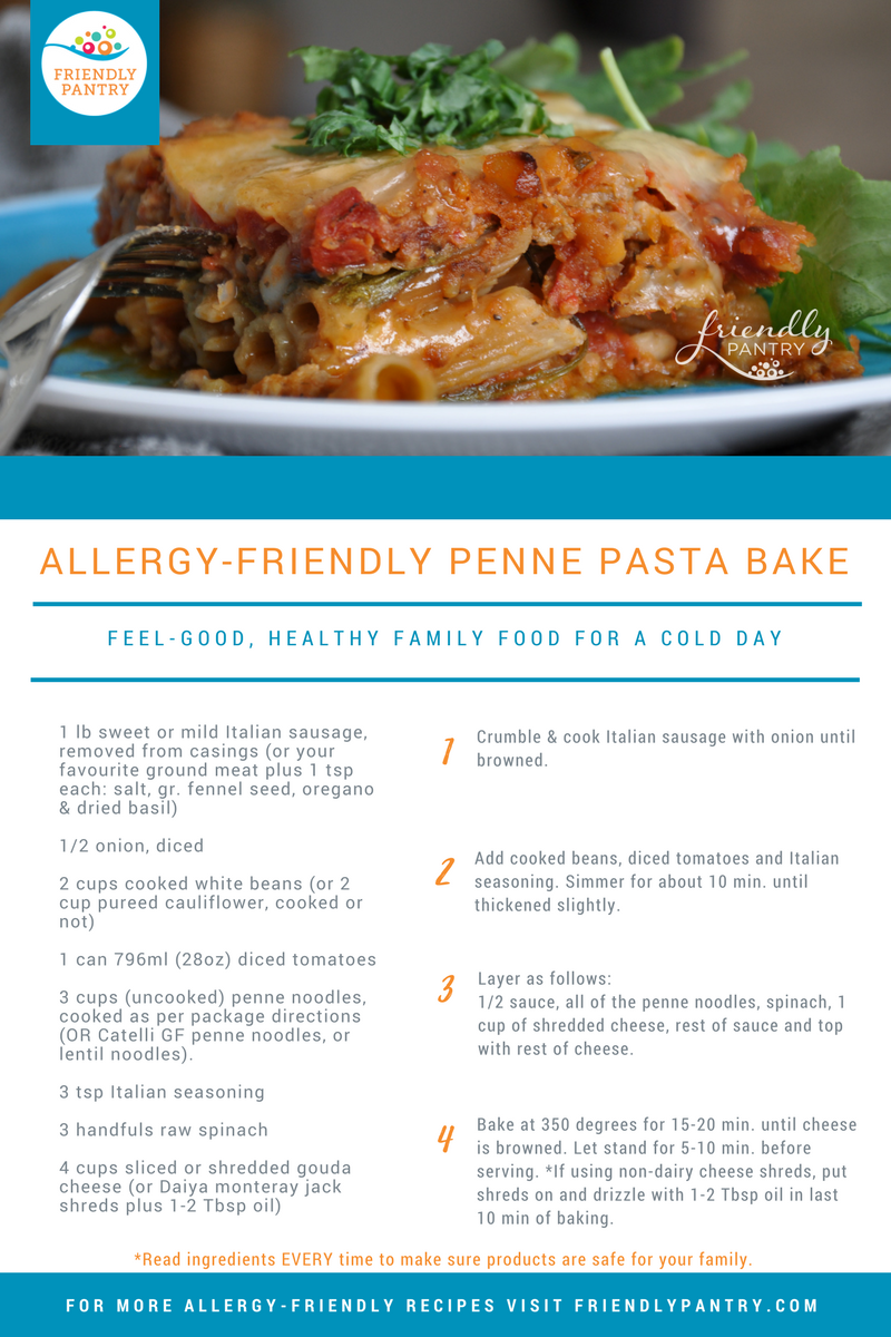 Allergy-Friendly Penne Pasta Bake