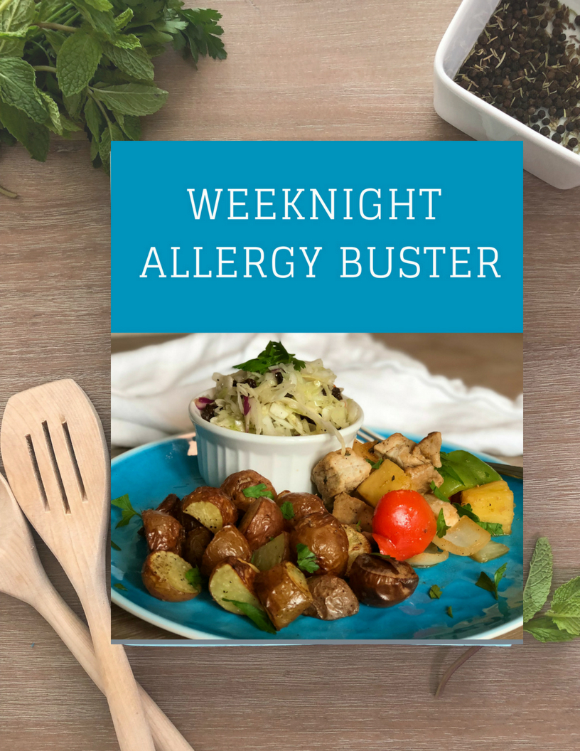 One month of easy and delicious allergy eats meal plans to make your food allergy dinners easier and have more variety. Includes allergy friendly snacks for toddlers and school kids!