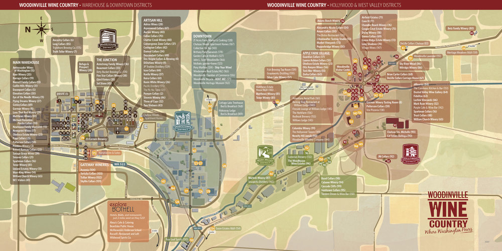 Map from  Woodinville Wine Country