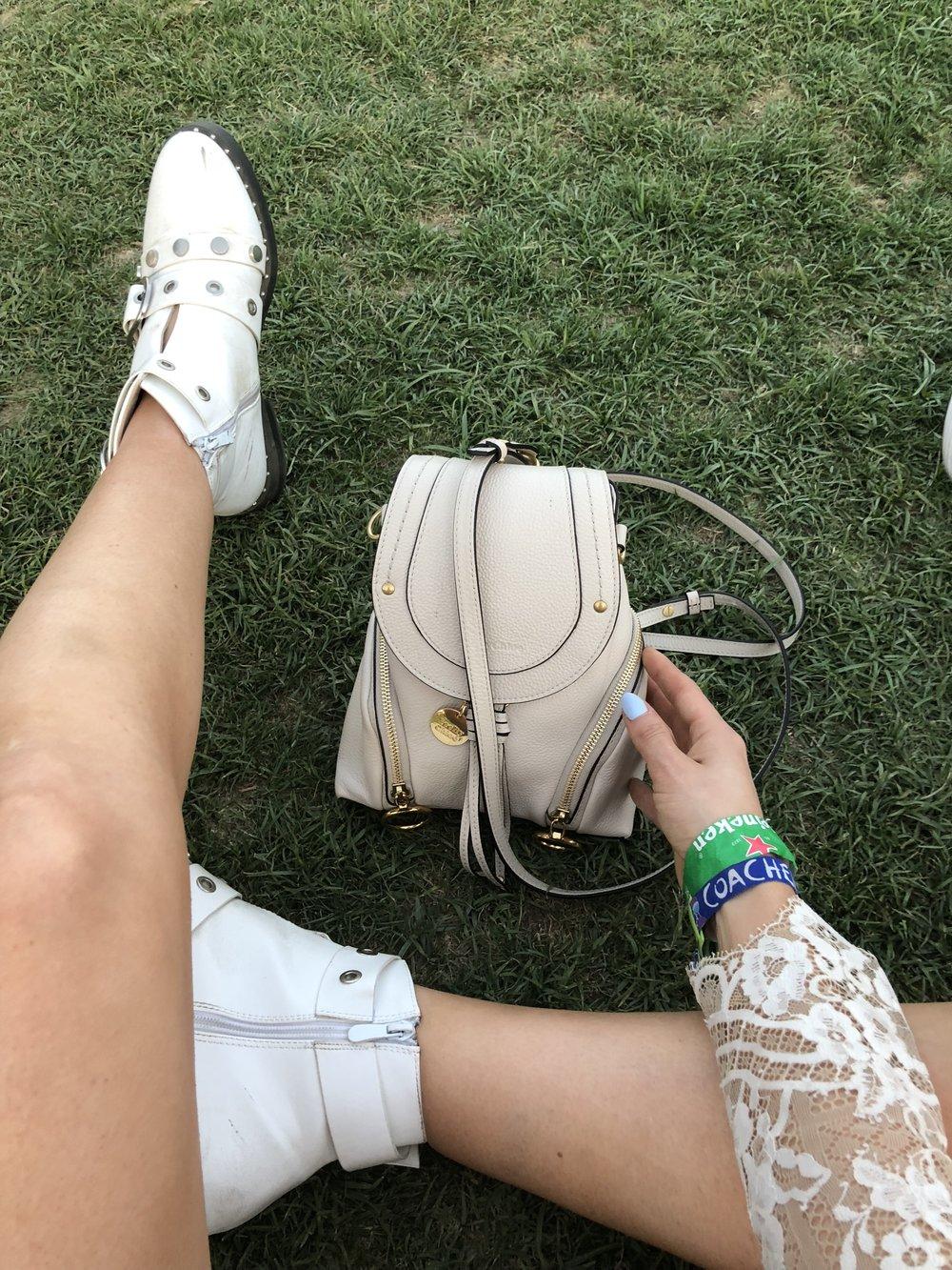 See by Chloe Olga Mini backpack and  white Nasty Gal booties
