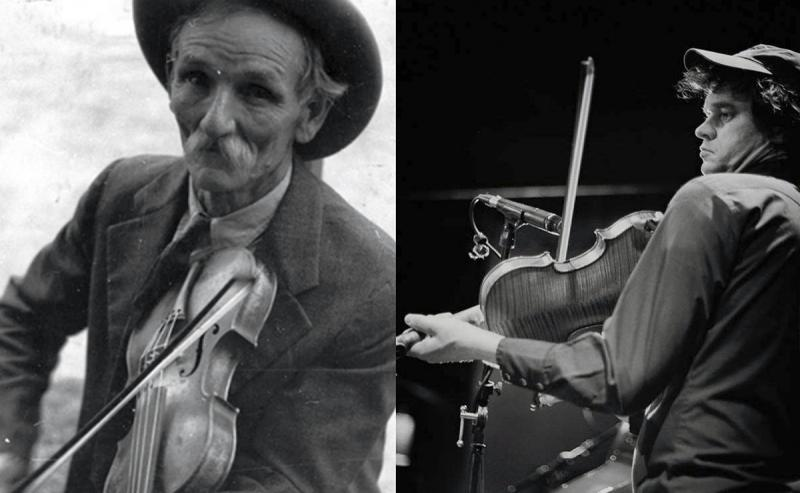 Fiddlin' Bill Hensley (photo Ben Shahn, Library of Congress) and Jason Cade (photo Jamie Derevere)