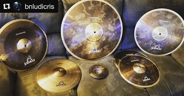 HUGE shoutout to @saluda cymbals for hooking us up with a fresh set for @bnludicris Come hang out in Atlanta, GA Sunday, July 15th at @masquerade_atl at @summerslaughter and see these beauties in action!