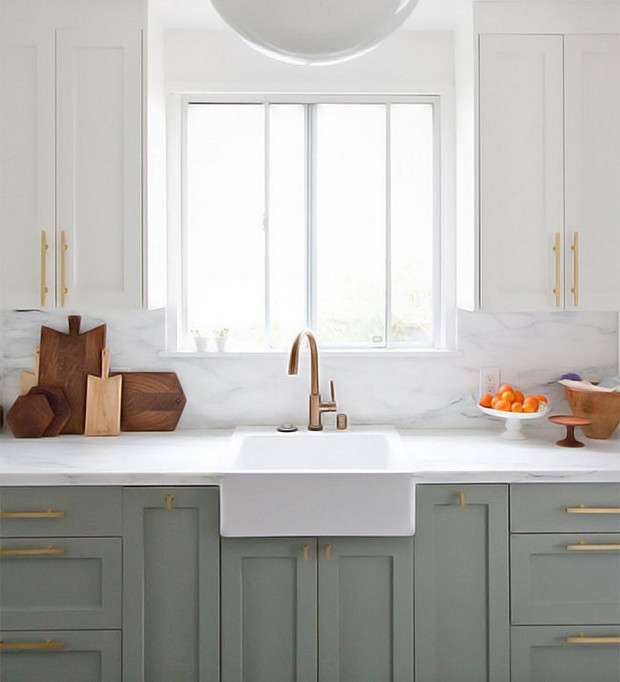 I looove the design of two toned cabinets. Maybe because I can be indecisive & just want both haha. White uppers with a soft color for the lowers is my favorite way!