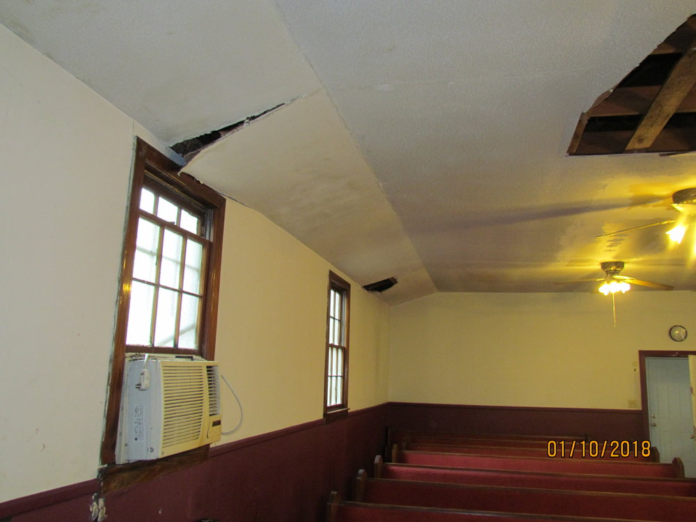 Sanctuary ceiling collapsing.