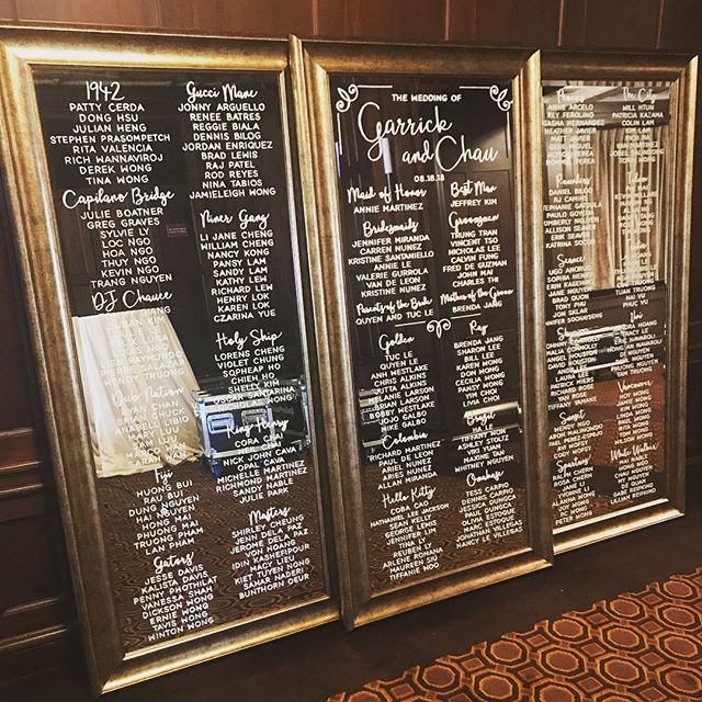 Successful delivery! Can't wait to see how they look lit up with candles and florals! What a gorgeous venue! @juliamorganballroom  #handlettering #weddingsigns #bayareacalligrapher #moderncalligraphy #weddingdetails #weddingcalligraphy #weddinginspo