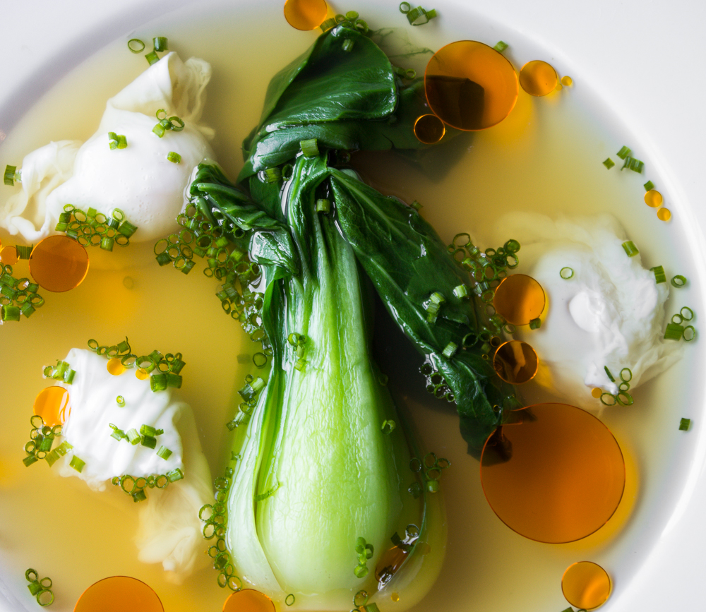 Bok Choi in Lactarius Broth With Quail Eggs_-6.JPG