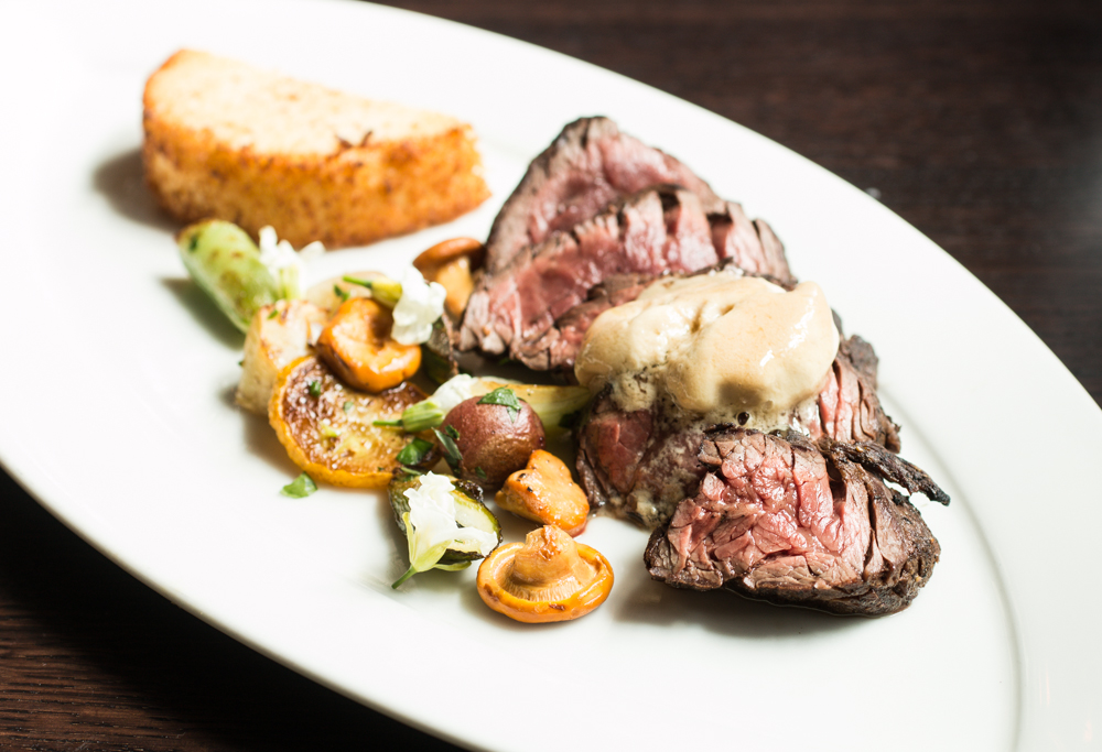 Hanger Steak with Chanterelle Mushrooms, Vegetables, Foie Gras Butter and Polenta_.JPG