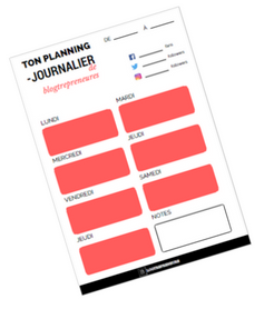 planning journalier des blogtrepreneures