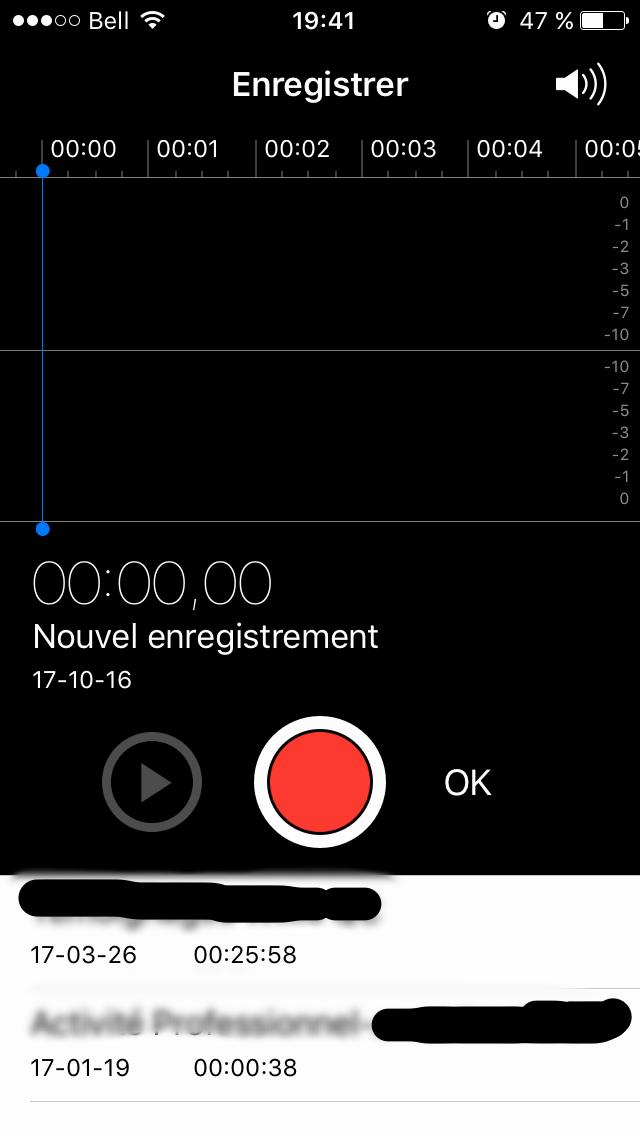 capture ecran dictaphone iphone 6s
