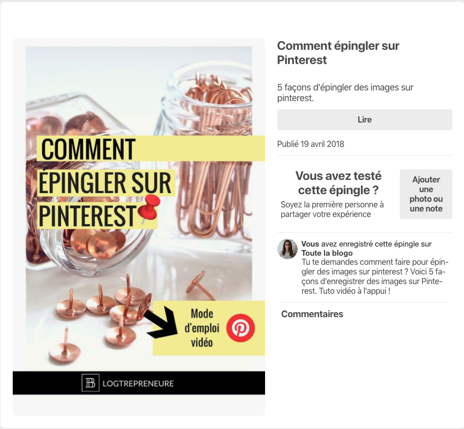 Exemple d'épingle enrichie sur Pinterest
