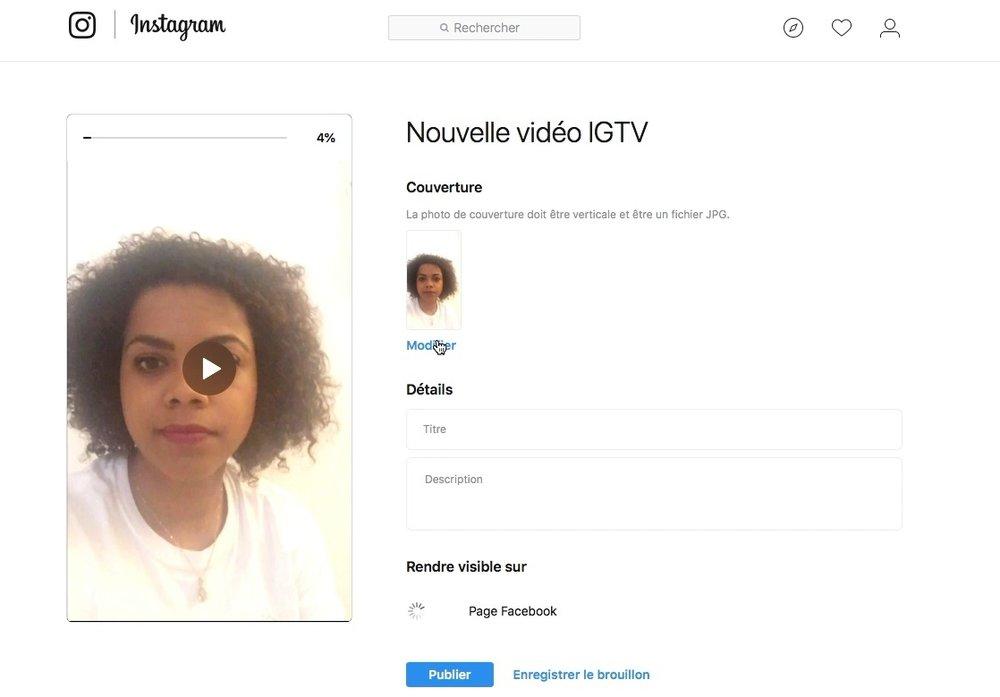 IGTV comment modifier couverture de la vidéo