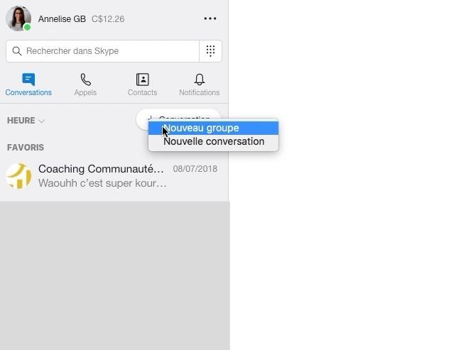 comment créer un groupe de discussion skype