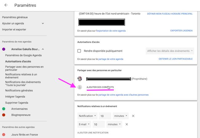 ajouter contact google agenda