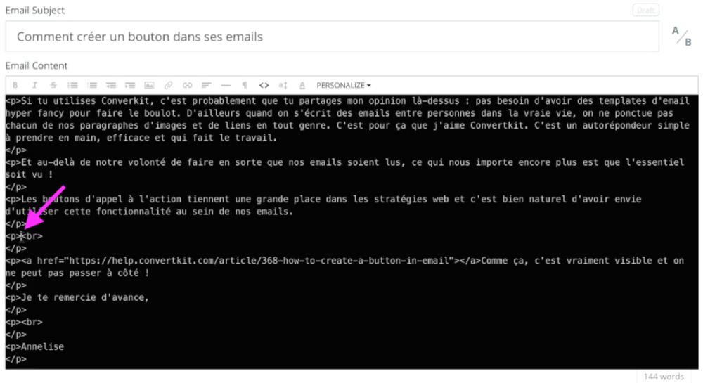trouver curseur mode html convertkit