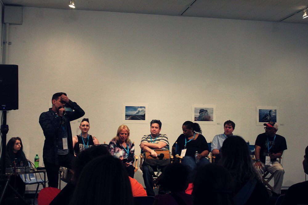 from left to right: Aaron Hartzler (mod), Madeleine Roux, Ellen Hopkins, Alex Morel, John Corey Whaley, Greg Neri
