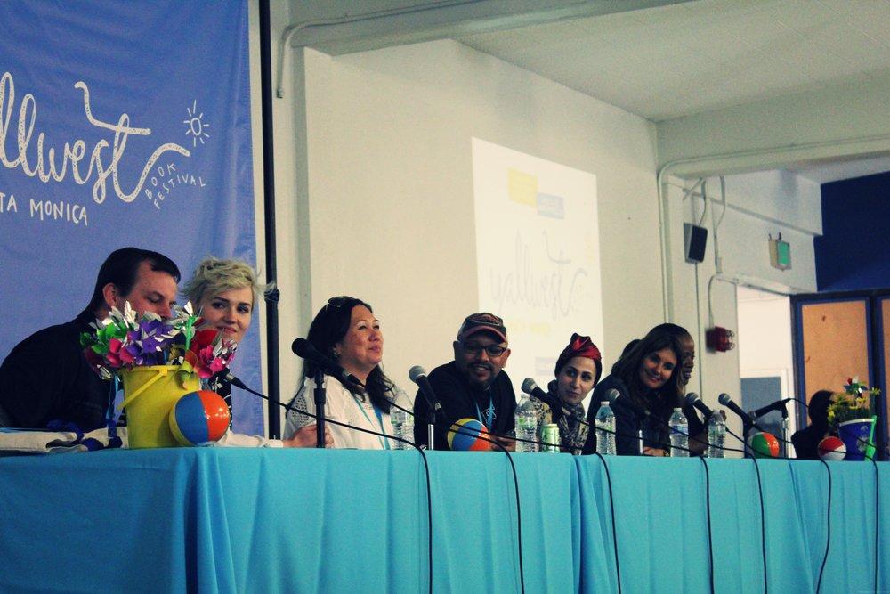 from left to right: Brendan Reichs, Veronica Roth, Melissa de la Cruz, Greg Heri, Tahereh Mafi, Coe Booth