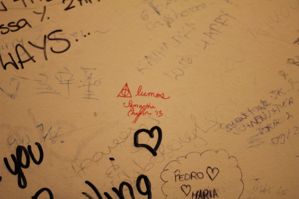 People wrote notes to J.K. Rowling on the bathroom walls in The Elephant House. I also wrote things.