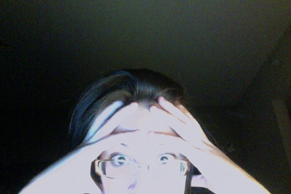 Jan. 20, 2014 at 1AM: taken immediately after I found out I had only cut 1500 words from my entire 2nd draft.
