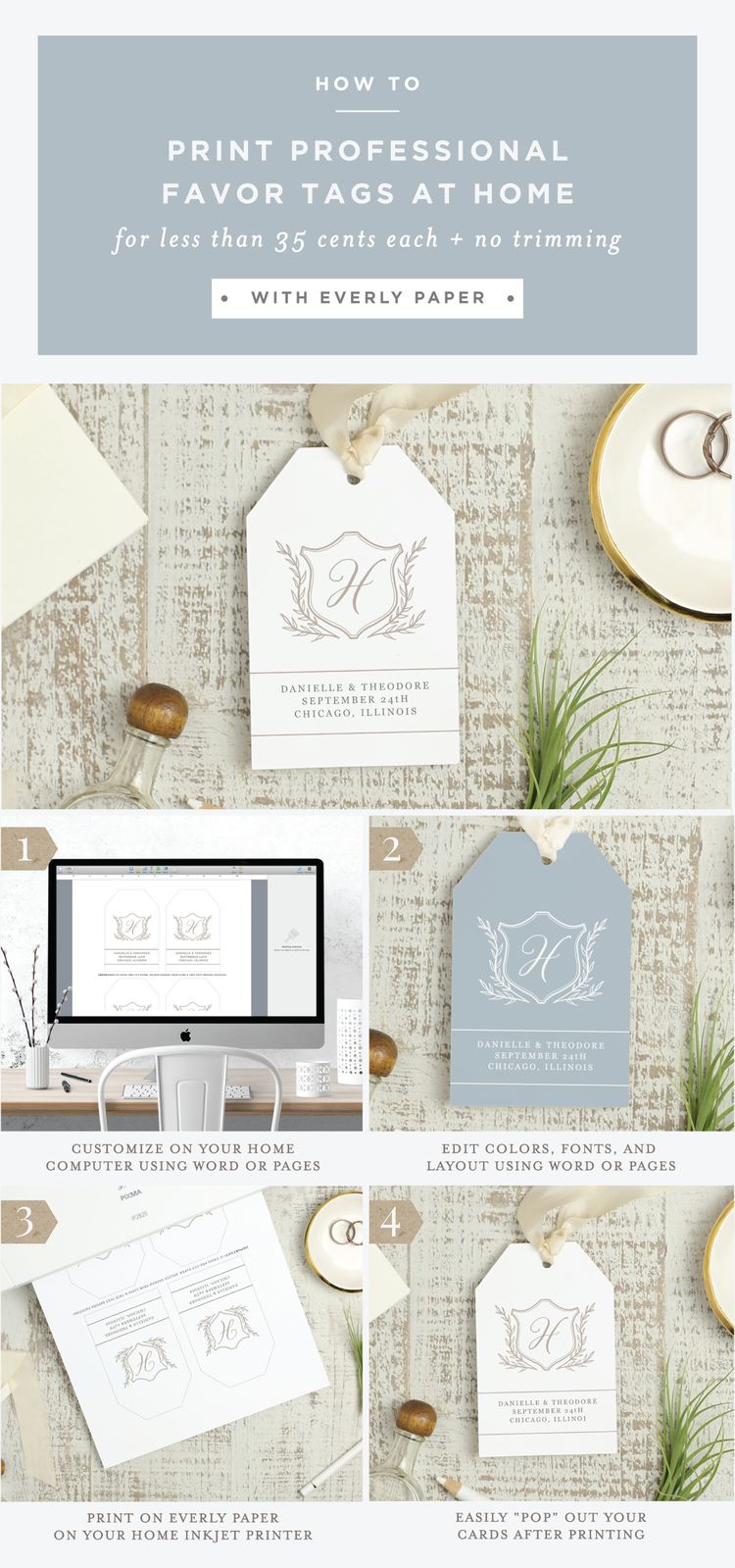 How to DIY wedding hang tags with no trimming — Everly Paper