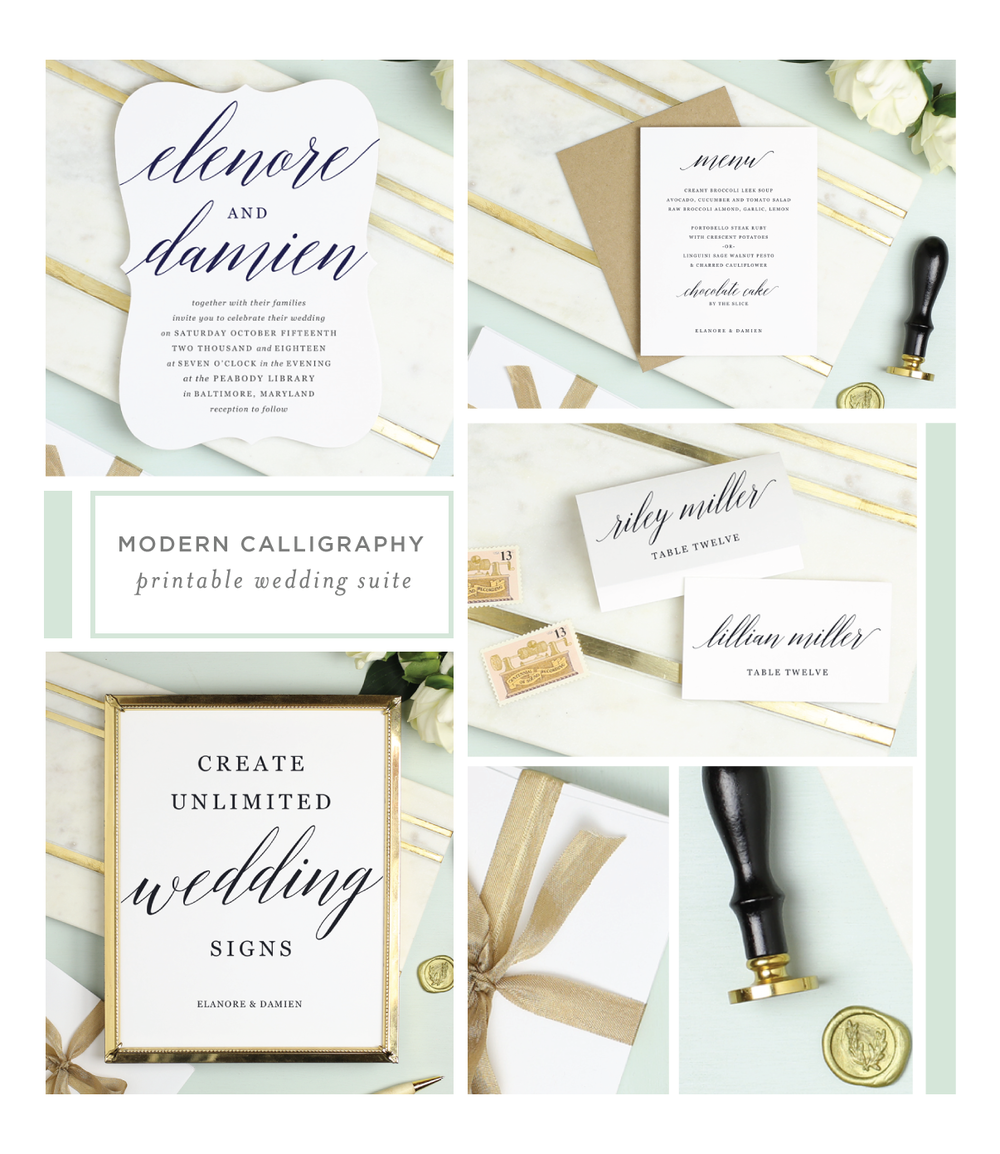 modern calligraphy printable wedding suite everly paper
