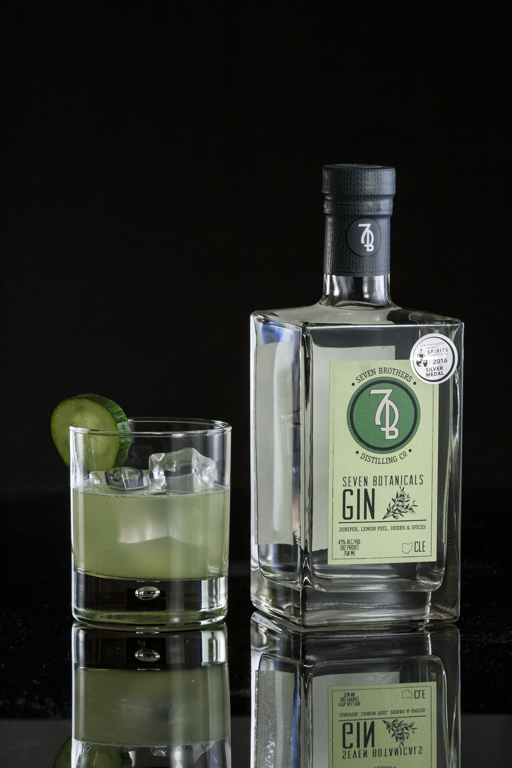 CLE GARDEN GIN - 1.5 oz Seven Brothers Seven Botanicals Gin1.25 oz Lemon Juice.5 oz Simple Syrup2 slices Cucumber4 Mint LeavesMuddle mint leaves and cucumber in a shaker. Combine remaining ingredients and shake over ice. Strain into a Rocks glass and garnish with a cucumber wheel.