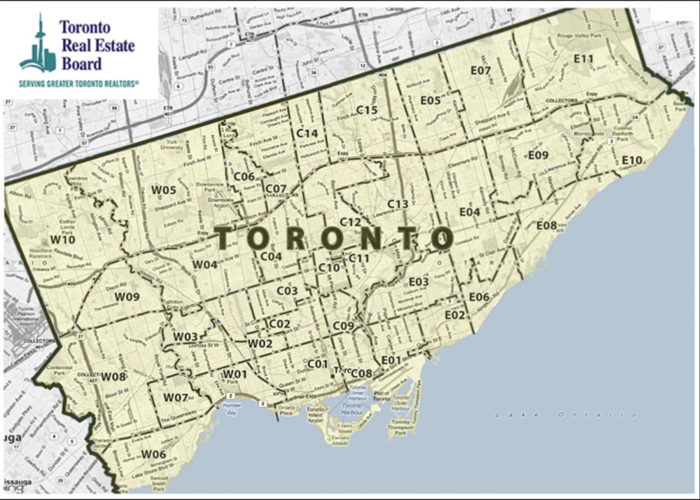 Treb map of Toronto by district