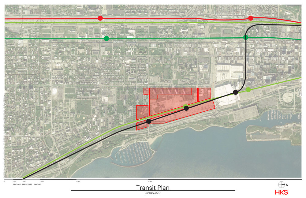 "Chicago Metra and ""L"" Train Access for The Michael Reese Site. The Black line is a proposed expansion line for the ""L"""