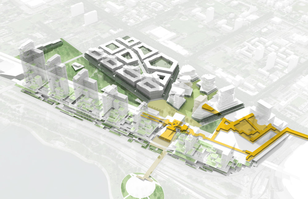 In this image, you see in yellow access pathways between the Metra Station Transit Hub, through the Imagine Entertainment Complex, and then across to McCormick Place. This ease of access allows for strong integration between several of the plan's proposed elements, while leveraging the growth potentials McCormick Place provides.