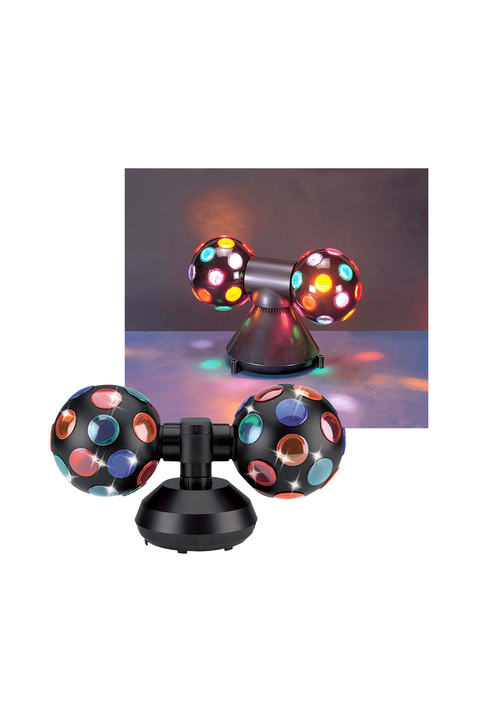 "V0231Jr  DOUBLE DISCO BALL JUNIOR  -with Large 5"" Balls"