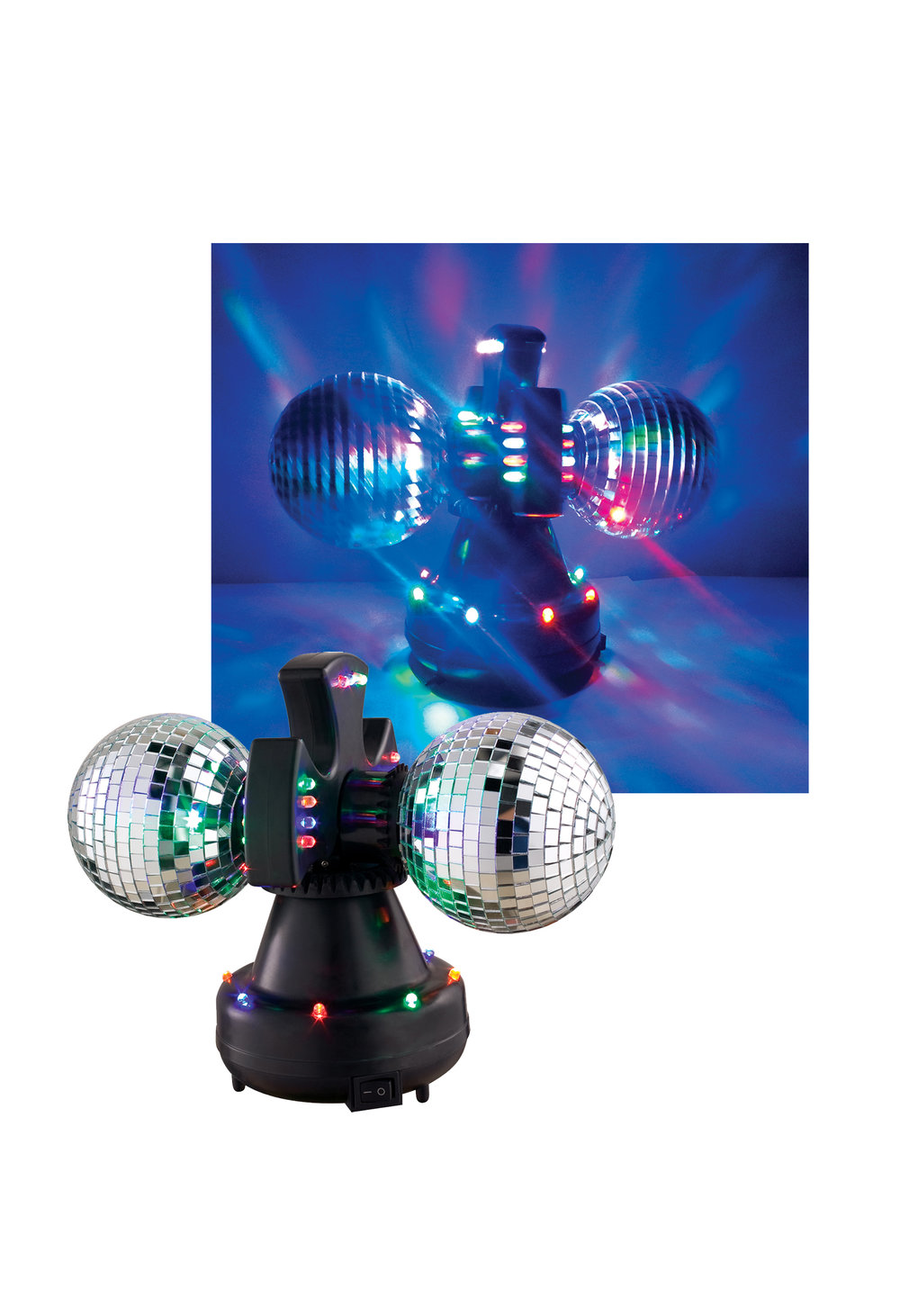 V0235 MIRROR BALL DUO - Twin Rotating Mirror Balls with 30 Multi-Colored LEDs