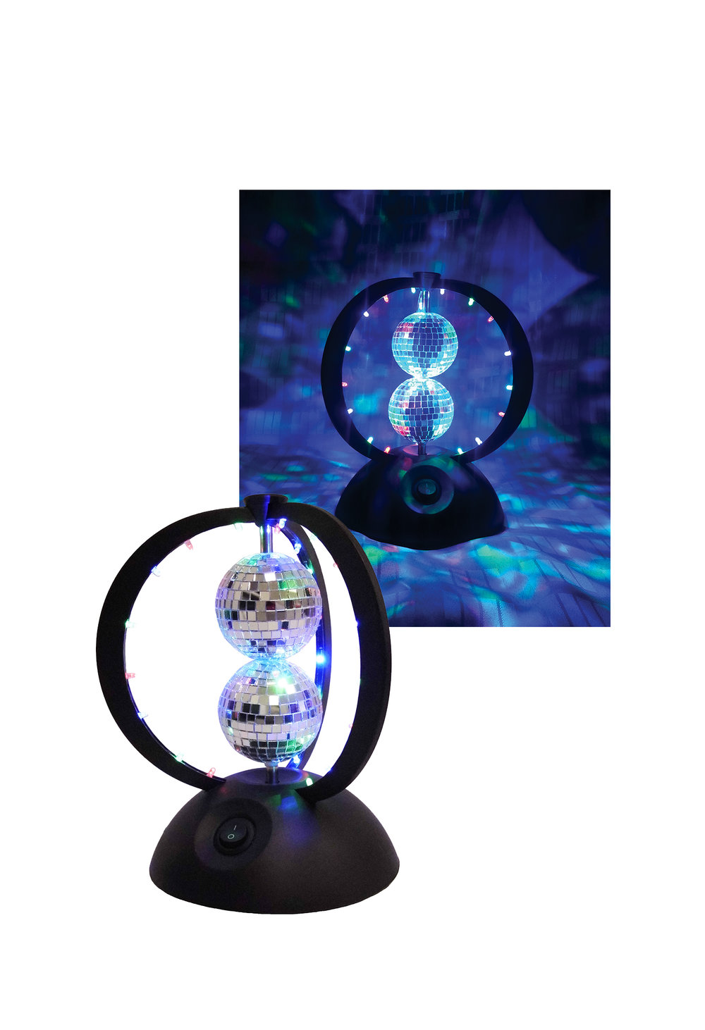V0238  TWIN HELIX  - 2 Rotating Mirror Balls with 24 Multi-Colored LEDs