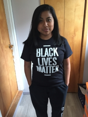 Jessi Martinez in the Black Lives Matter shirt she planned to wear.