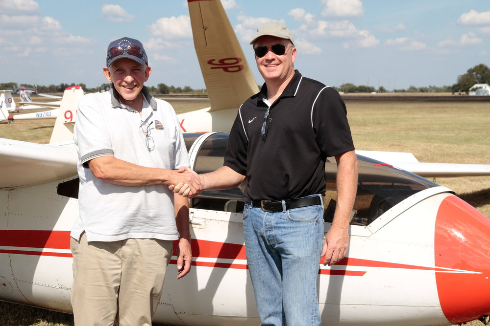 Keith Terhune (right) passes his check-ride with DPE Gregg Squires in October 2016.