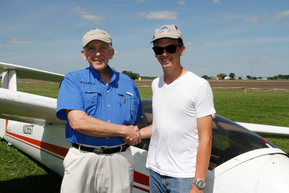 Dak Davis (right) passes his commercial glider check-ride with DPE Gregg Squires in March 2018
