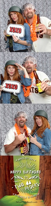 Here's what the photo strip looked like. We do custom artwork for every event, based the client's theme. Also, notice how sharp the colors are and how crisp the lighting is in the pictures. My biggest suggestion to folks when they are deciding on a photobooth vendor is to LOOK AT THE OUTPUT! Are the images crisp and clear with bright, vivid colors? It takes some photography skill to pull that off.     The artwork for this template was design by the one-and-only Erin at  Not So Basic Borders.