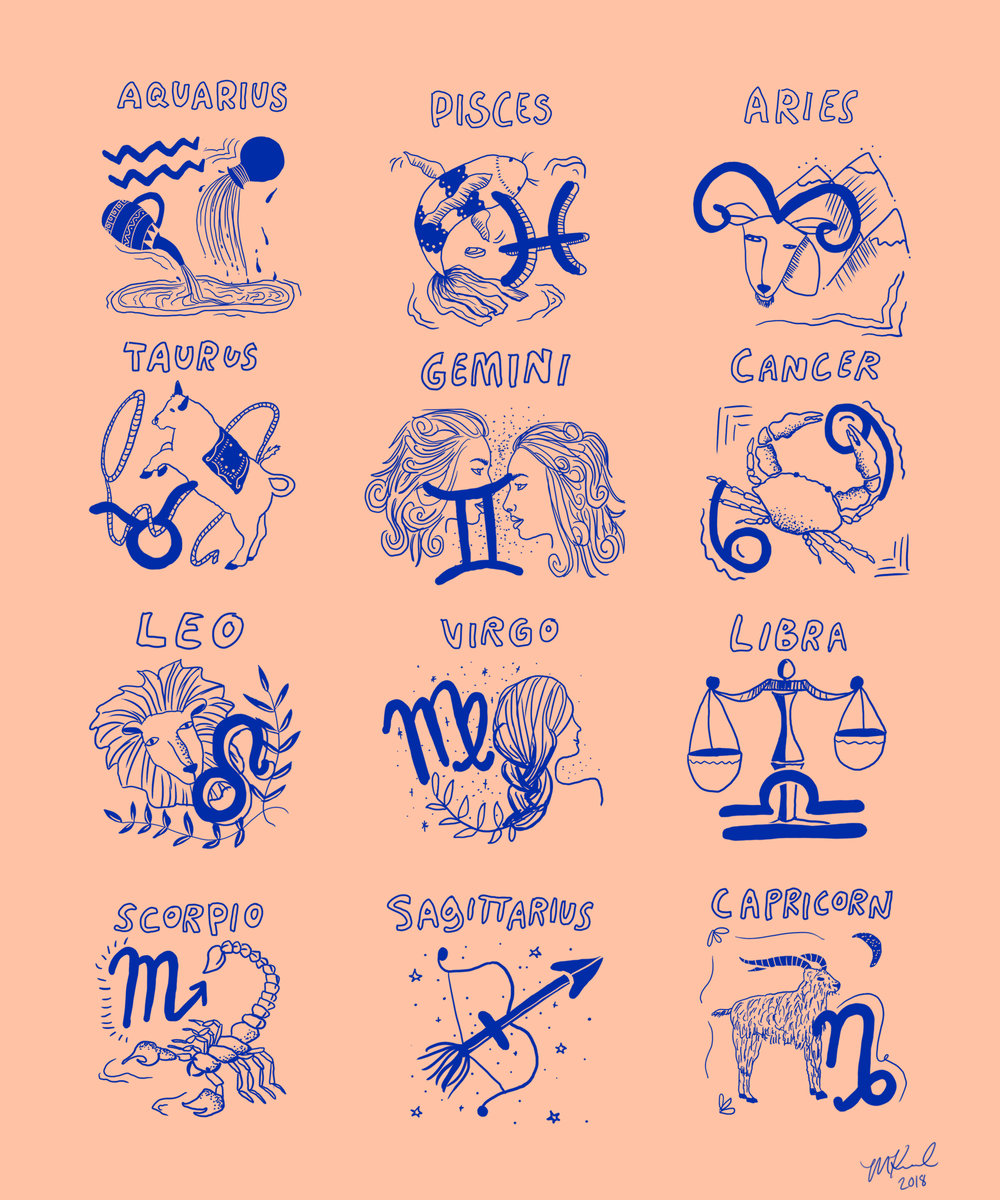 Zodiac Chart for Urban Outfitters Graphic T-Shirt