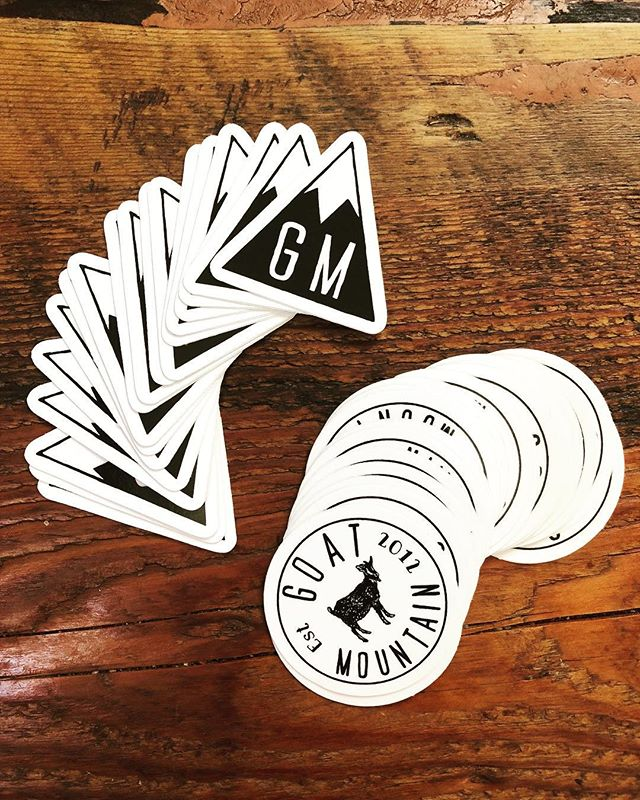 Fresh off the print GM stickers! Come into the shop to grab a couple... and maybe a couple slices while you're at it 😜