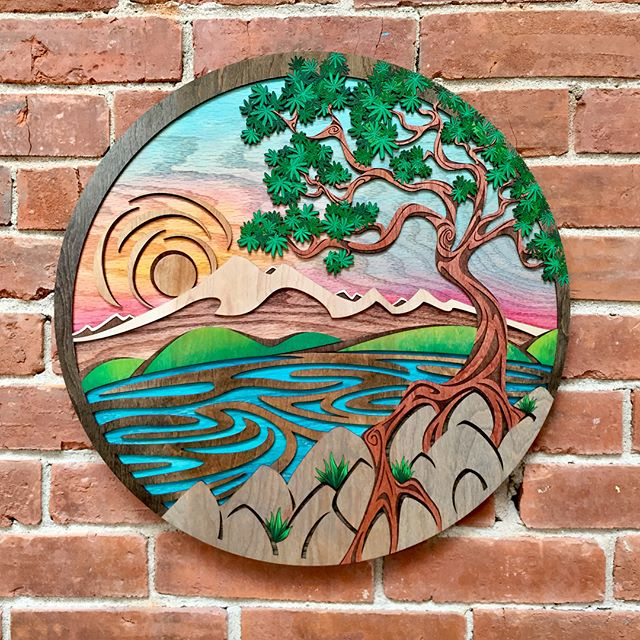 We changed up the art on our walls this morning! Tomorrow night is the September Art Walk, come by and check out beautiful hand-painted wood art created by Jenna Goodman! @sunspotseries  #goatmountainpizza #pizzaandart #artwalk #downtownbellingham #bhamart #woodart
