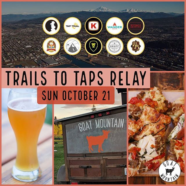 Trails to Taps Relay is coming up on Sunday October 21 from 9am-4pm. You'd better believe we will be there, pizza trailer at the ready!! #trailstotaps2018 #trailstotaps #whatcom #whatcomcounty #bham #bellingham #bellinghamwa #wa #run #running #beer #goatmountain #goatmountainpizza  More info here: https://www.facebook.com/events/200277610683797/