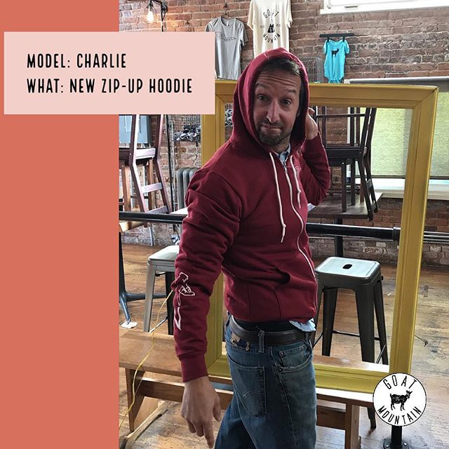 We know it's Monday, we're closed today, but we thought we'd give you a little 'GIF'....Introducing Charlie, Owner of Goat Mountain, modeling one of our new pieces of merch! We can't wait to show you our new wearables in all their glory! #goatmountain #merch #gmp #goatmountainpizza #redecorating #bham #downtownbham #bellingham #bellinghamwa #wa #washington #washingtonstate #pizza #local #eatlocal #eatlocalbellingham
