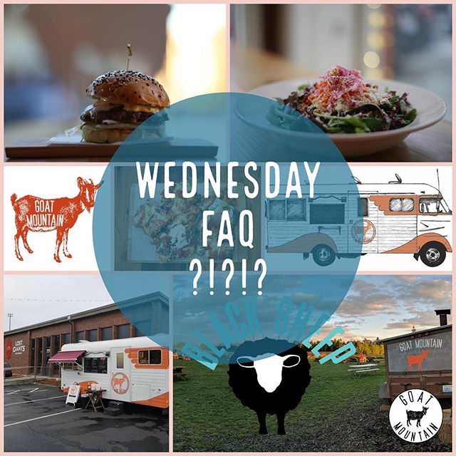 Time for Wednesday FAQ! One question we hear often: Who are you people?!?! Chas and Charlie are the owners of Goat Mountain as well as Black Sheep - A Bar with Tacos @blacksheepbham . We even have a pizza trailer for special events and catering and also a taco/burrito truck called Kid Sister @kidsisterfood . #faq #goatmountainpizzaco #goatmountainpizza #gmp #kidsister #blacksheep #bham #blacksheeponholly #eatlocal #kidsister #kidsisterfood #bellingham #bellinghamwa #wa #washington #washingtonstate #pnw #pizza